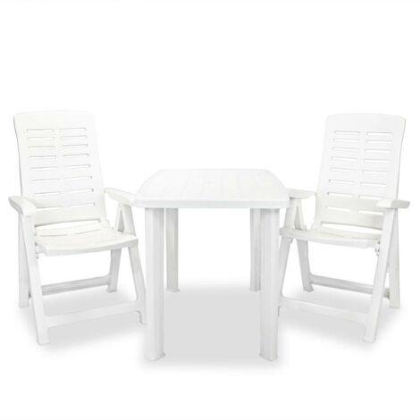 Hommoo 3 Piece Bistro Set Plastic White VD18010