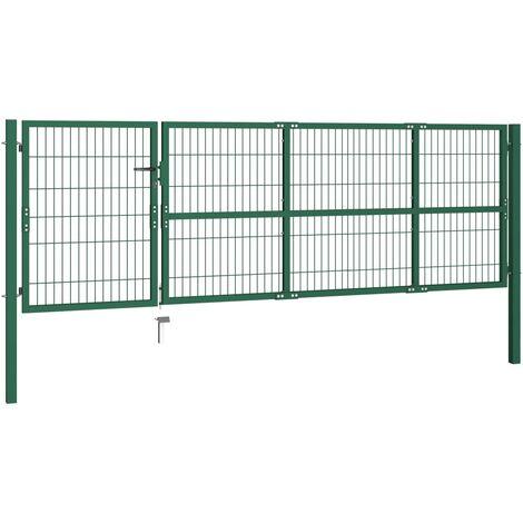Hommoo Garden Fence Gate with Posts 350x100 cm Steel Green QAH04691