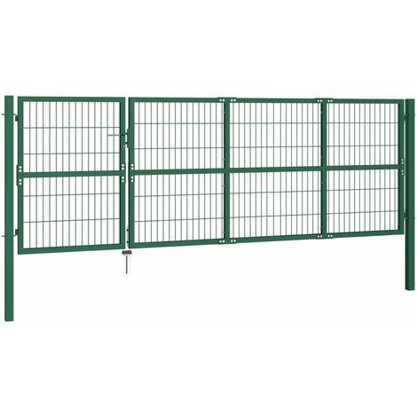 Hommoo Garden Fence Gate with Posts 350x120 cm Steel Green QAH04692