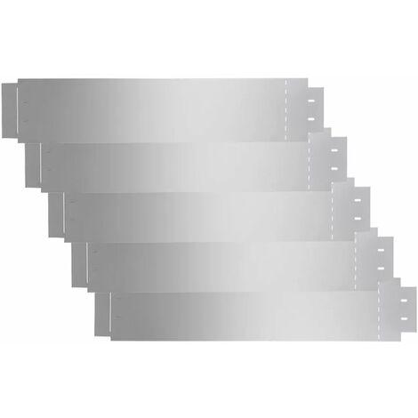 Hommoo Lawn Fences 5 pcs Galvanised Steel 100x20 cm QAH04742
