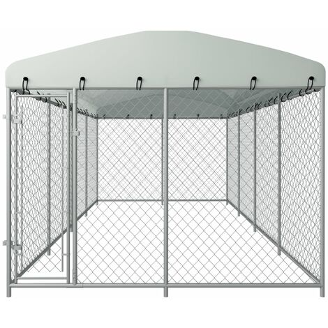 Hommoo Outdoor Dog Kennel with Roof 8x4x2 m QAH06311