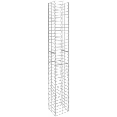 Hommoo Gabion Baskets 3 pcs Galvanised Steel 25x25x197 cm QAH06418