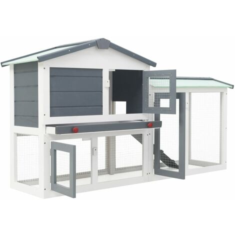 Hommoo Outdoor Large Rabbit Hutch Grey and White 145x45x85 cm Wood QAH35621