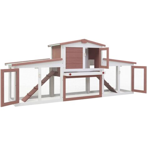 Hommoo Outdoor Large Rabbit Hutch Brown and White 204x45x85 cm Wood QAH35625