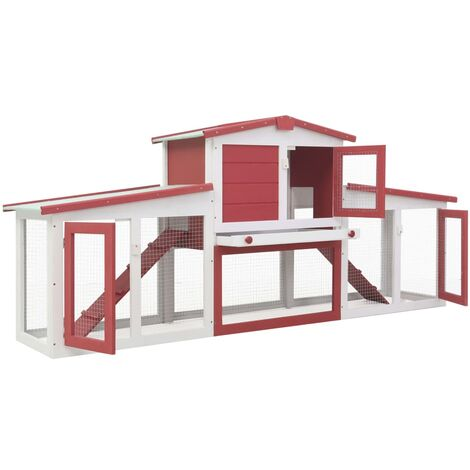 Hommoo Outdoor Large Rabbit Hutch Red and White 204x45x85 cm Wood QAH35626