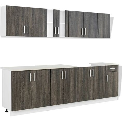 Hommoo Kitchen Cabinet with Sink Base Unit 8 Pieces Wenge Look QAH08736
