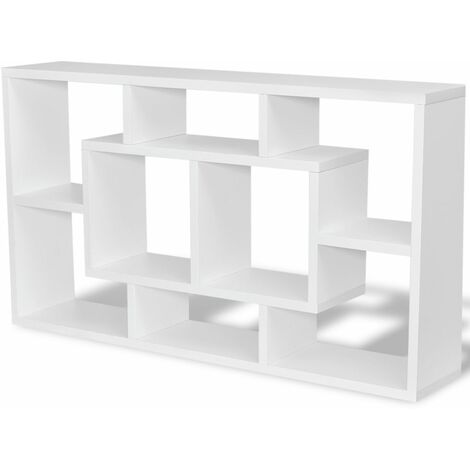 Floating Wall Display Shelf 8 Compartments White QAH09342