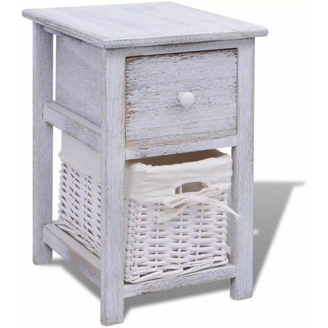 Hommoo Bedside Cabinet Wood White QAH09480