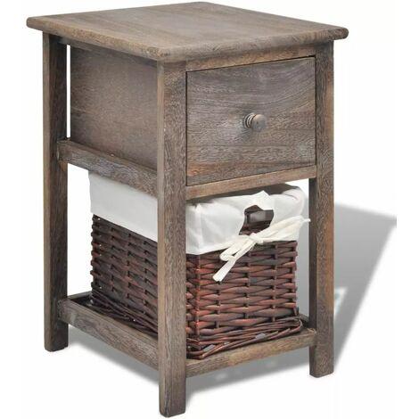 Hommoo Bedside Cabinet Wood Brown QAH09482