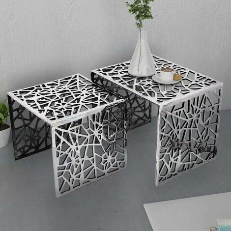 Hommoo Two Piece Side Tables Square Aluminium Silver QAH09860