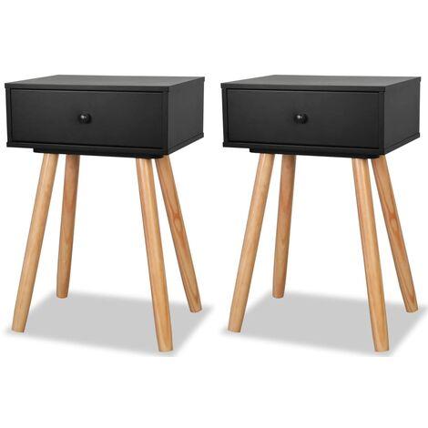 Hommoo Bedside Tables 2 pcs Solid Pinewood 40x30x61 cm Black QAH10801