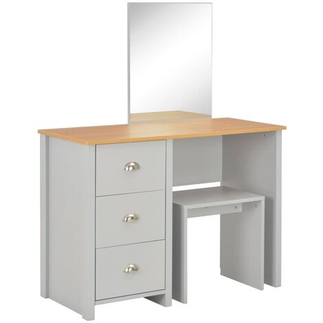 Hommoo Dressing Table with Mirror and Stool Grey 104x45x131 cm QAH24435