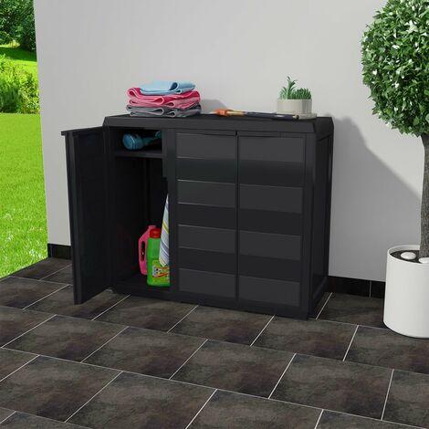 Hommoo Garden Storage Cabinet with 2 Shelves Black QAH27991
