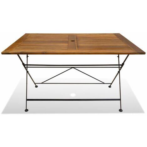 Hommoo Folding Garden Table 120x70x74 cm Solid Acacia Wood QAH28015