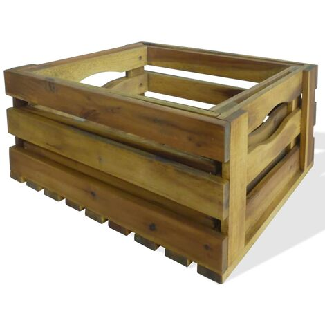 Hommoo Apple Crate Set 2 Pieces Solid Acacia Wood QAH28031