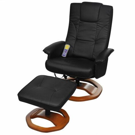 Hommoo Massage Chair with Footstool Black Faux Leather VD33028