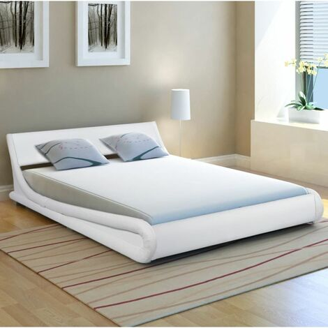 Hommoo Bed Frame 5FT King Size/150x200cm Artificial Leather Curl White VD33078