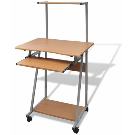 Hommoo Computer Desk With Pull-out Keyboard Tray and Top Shelf Brown QAH07411