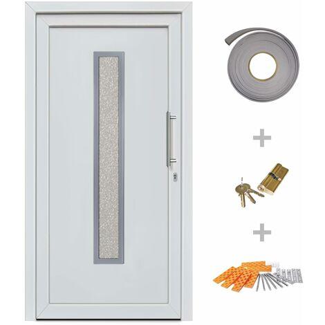 Hommoo Front Entrance Door White 98x200 cm QAH21461