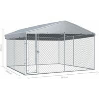 Hommoo Outdoor Dog Kennel with Roof 3.8x3.8x2.4 m VD06398