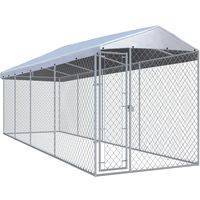 Hommoo Outdoor Dog Kennel with Roof 7.6x1.9x2.4 m