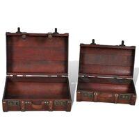 Hommoo Wooden Treasure Chest 2 pcs Vintage Brown VD08266