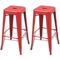 Hommoo Bar Stools 2 pcs Red Steel VD08441