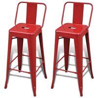 Hommoo Bar Stools 2 pcs Red Steel VD08444
