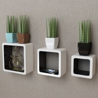 3 White-black MDF Floating Wall Display Shelf Cubes Book/DVD Storage VD09100
