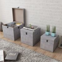Hommoo Storage Box Concrete 3 pcs Square Grey MDF VD09157