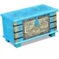Hommoo Storage Chest Blue Mango Wood 80x40x45 cm VD09740