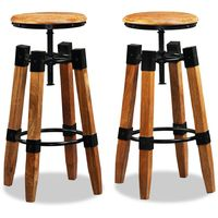 Hommoo Bar Stools 2 pcs Solid Mango Wood VD10682
