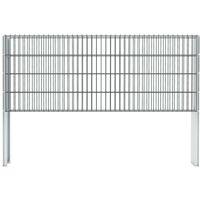 Hommoo 2D Gabion Fence Galvanised Steel 2008x830 mm 4 m Grey VD17432