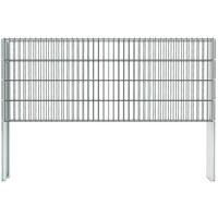 Hommoo 2D Gabion Fence Galvanised Steel 2008x830 mm 6 m Grey VD17433