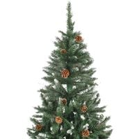 Hommoo Artificial Christmas Tree with Pine Cones and White Glitter 210 cm VD24859