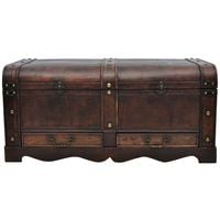 Hommoo Wooden Treasure Chest Large Brown VD30980