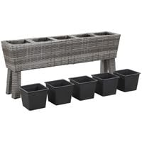 Hommoo Garden Planter with Legs and 5 Pots 118x25x50 cm Poly Rattan Grey VD45672