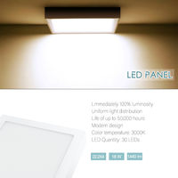 Hommoo 1 Piece 18W Surface Mounted Panel Light Warm White Square 220V LLDDE-MBD11N18W