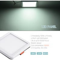 Hommoo 1 Piece 6W Free Opening Panel Light Cool White Square LLDDE-ZM0900631