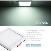 Hommoo 2 Piece 6W Free Opening Panel Light Cool White Square LLDDE-ZM0900631X2