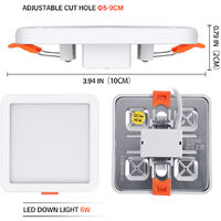 Hommoo 5 Piece 6W Free Opening Panel Light Cool White Square LLDDE-ZM0900631X5
