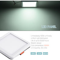 Hommoo 6 Piece 6W Free Opening Panel Light Cool White Square LLDDE-ZM0900631X6