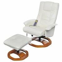 Hommoo Massage Chair with Footstool White Faux Leather VD33027