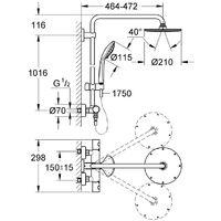 Grohe Bar Shower System with XXL Rainshower Head - Euphoria 210