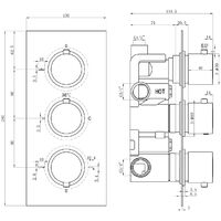 Thermostatic 3 Way Diverter Square Shower Valve with Round Handles