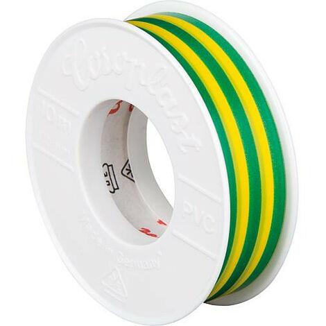 Rubant isolant pour l'electricite vert-jaune largeur 15 mm longueur 10 metres