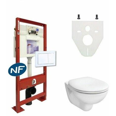 Pack wc suspendu complet   Blanc - Abattant standard
