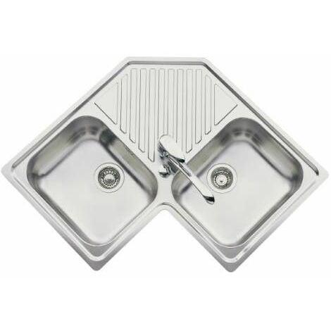 Evier d'angle inox avec 2 bacs | Inox lisse