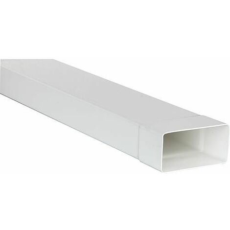Tube plat systeme 125 150 x 70 mm, blanc Longueur 1,0 m avec manchon