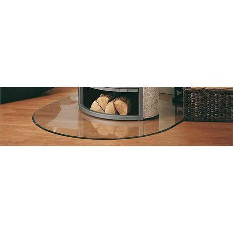 Plaque de sol acier 2 mm pour poele - arrondie B3 gris fonte